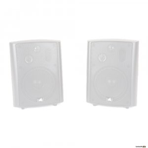Australian Monitor AMPAV30B 30W three-way stereo speaker system consisting of one powered and one passive speaker. White.